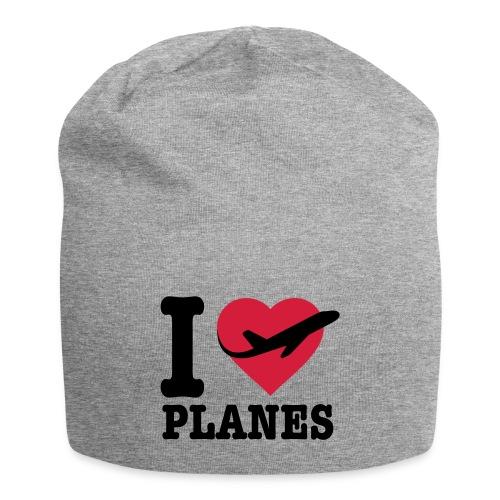 Uwielbiam samoloty - czarne - Czapka krasnal z dżerseju