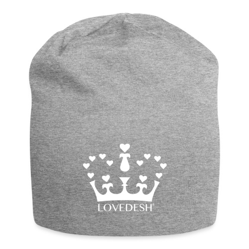 White Lovedesh Crown, Ethical Luxury - With Heart - Jersey Beanie