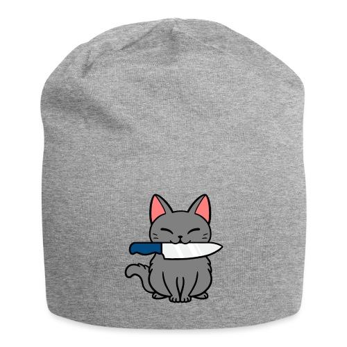 Fröhliche Katze mit Messer - Jersey-Beanie
