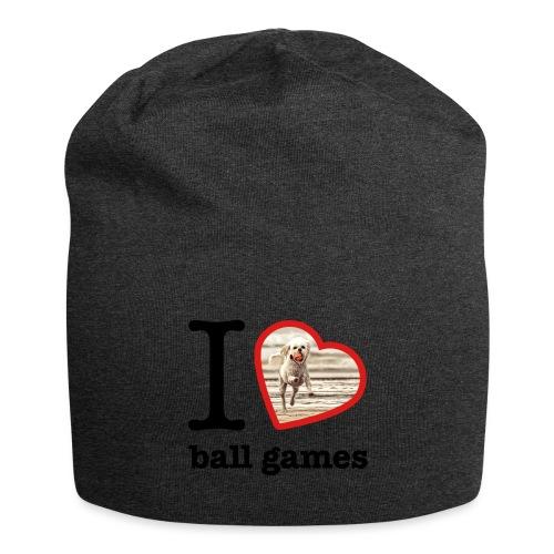 I love ball games Dog playing ball retrieving ball - Jersey Beanie