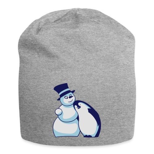 Schneemann und Pinguin - Jersey-Beanie