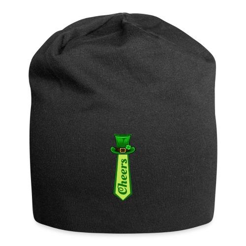 St Patricks Day Leprechaun Hat on Tie CHEERS - Jersey Beanie