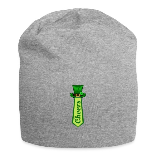 St Patricks Day Leprechaun Hat on Tie CHEERS - Jersey Beanie