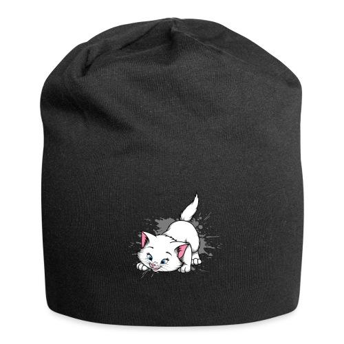 Katze Splash Pfützen Sprung - Jersey-Beanie