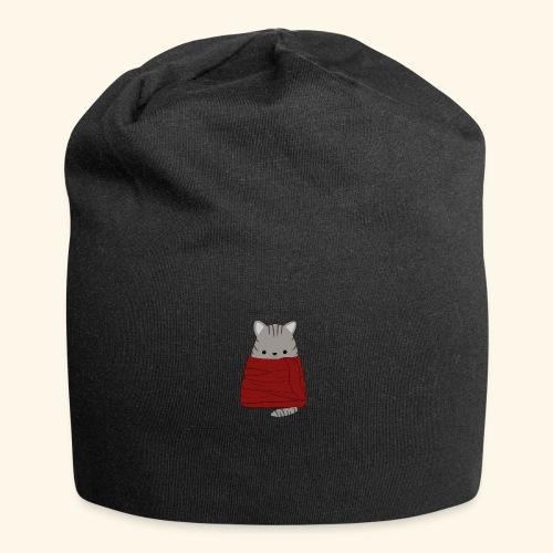 Katze im Winter mit Schal - Jersey-Beanie