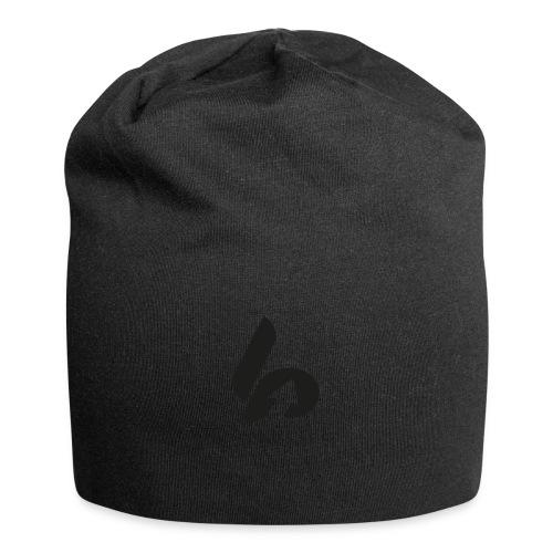 Lifepusher Logo Schwarz mit Text - Jersey-Beanie