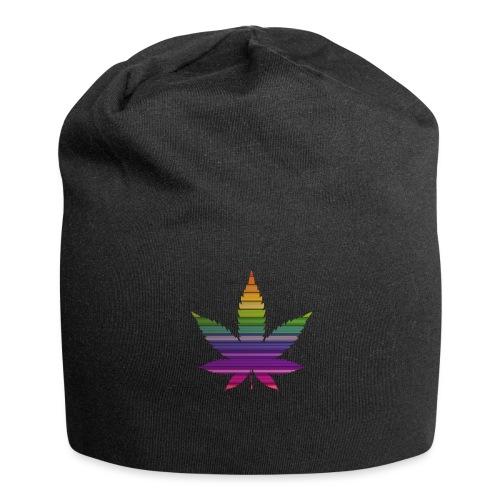 Weedblatt Design mit farbenfrohem Hintergrund - Jersey-Beanie