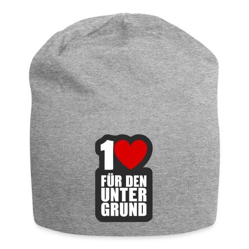 1 Herz für den Untergrund - Logo grau - Jersey-Beanie