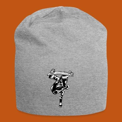 Skater / Skateboarder 03_schwarz weiß - Jersey-Beanie