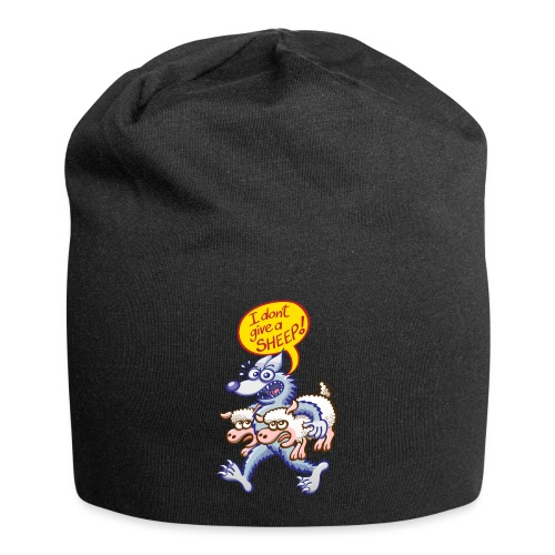 Bad blue wolf says I don't give a sheep - Jersey Beanie