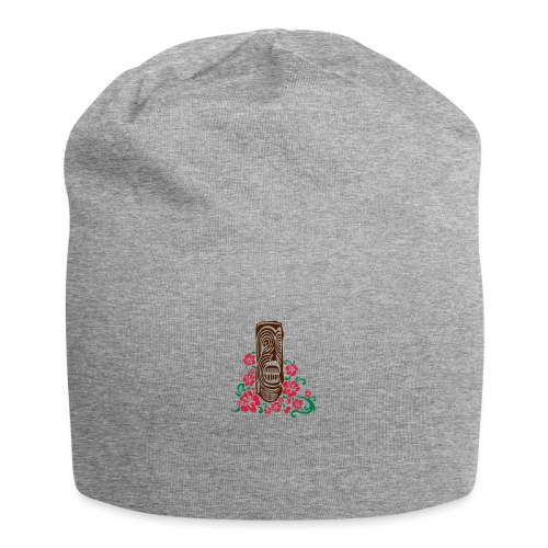Tiki Totem with Hibiscus Flowers - Jersey Beanie