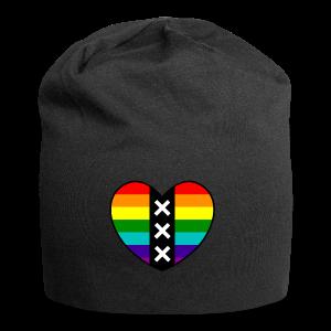 Hart Amsterdam in regenboog kleuren - Jersey-Beanie
