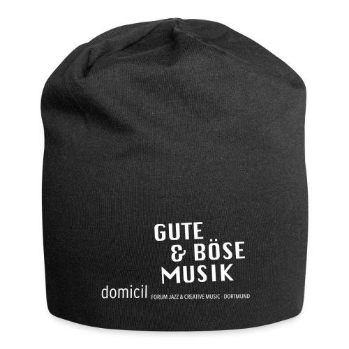 domicil · Gute & böse Musik - weiße Schrift - Jersey-Beanie