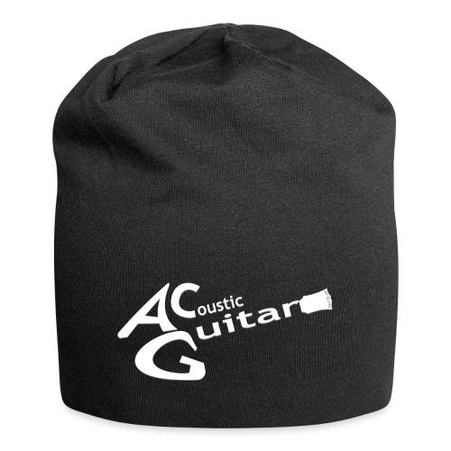Acoustic Guitar Logo - White - Jersey Beanie