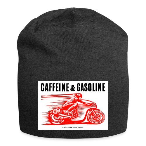 Caffeine & Gasoline black text - Jersey Beanie
