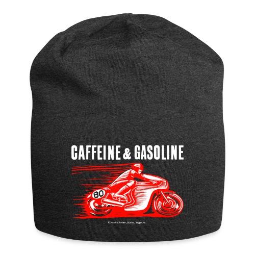 Caffeine & Gasoline white text - Jersey Beanie