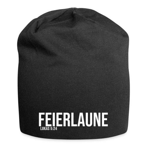 FEIERLAUNE - Print in weiß - Jersey-Beanie