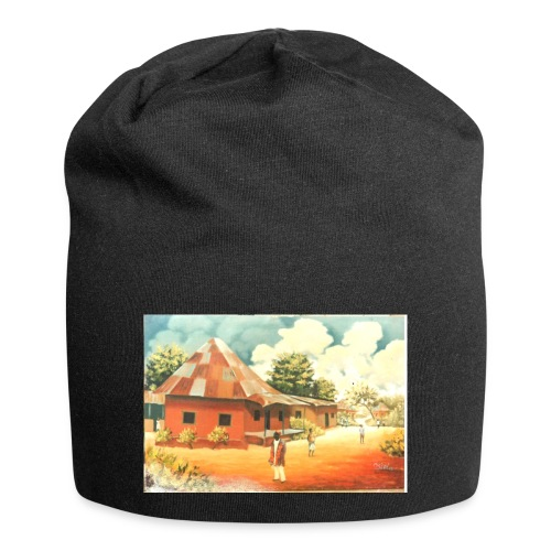 Rural African Village Scene Sofa pillow cover 44 x - Jersey Beanie