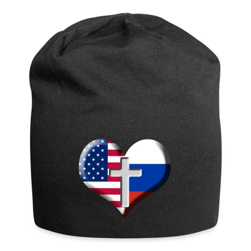 USA and Russia Heart with Cross - Jersey Beanie