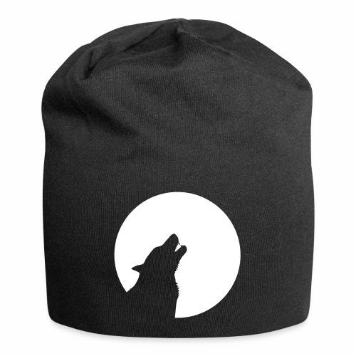 Wolf heult vor Mond Zähne wolve howling moon teeth - Jersey-Beanie