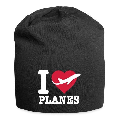 Uwielbiam samoloty - białe - Czapka krasnal z dżerseju