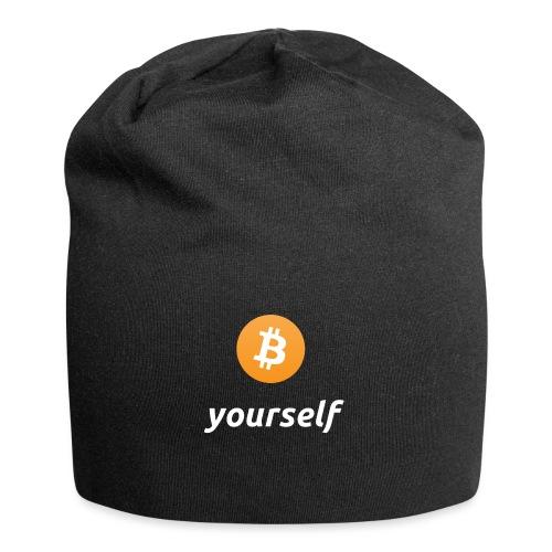 cryptocool b yourself white font -bitcoin logo - Jersey-Beanie