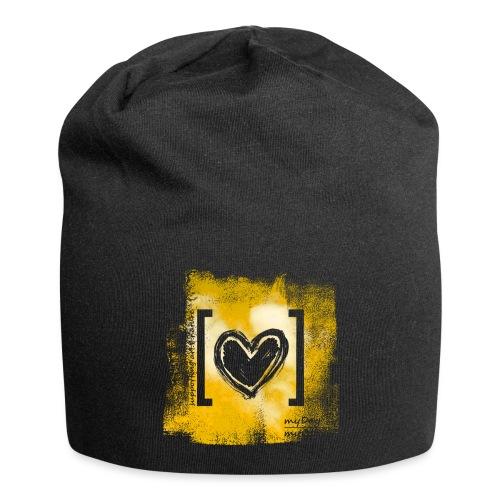 Herz / gelb - Jersey-Beanie