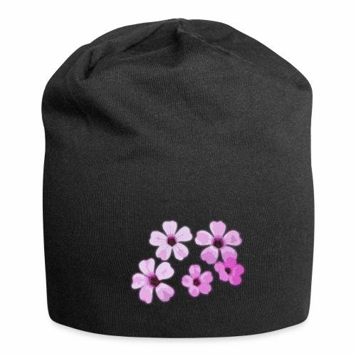 Blumen violett - Jersey-Beanie