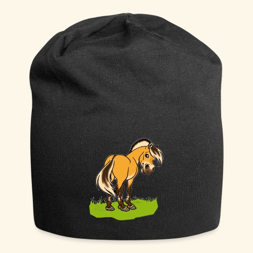 Freundliches Fjordpferd (Ohne Text) Weisse Umrisse - Bonnet en jersey
