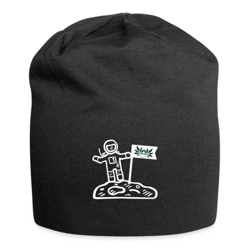 Funny Pot Loving Astronaut on the Moon - Jersey Beanie