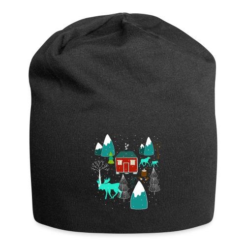 Weihnachten Elch I Geschenk Winterstimmung - Jersey-Beanie