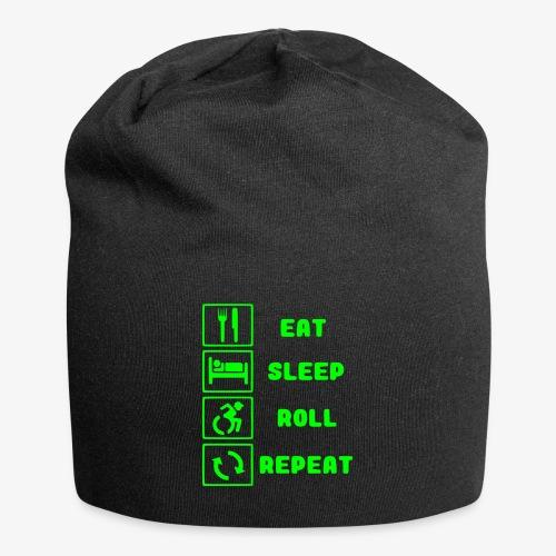 >Eten, slapen, rollen met rolstoel en herhalen 001 - Jersey-Beanie
