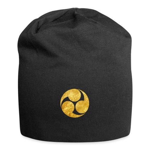Kobayakawa Mon Japanese clan gold on black - Jersey Beanie