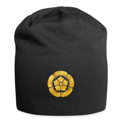 Oda Mon Japanese samurai clan faux gold on black - Jersey Beanie