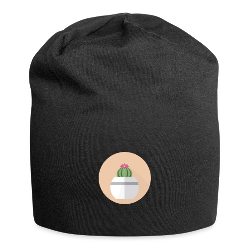 Flat Cactus Flower Round Potted Plant Motif - Jersey Beanie