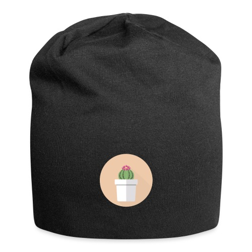 Flat Cactus Flower Potted Plant Motif - Jersey Beanie