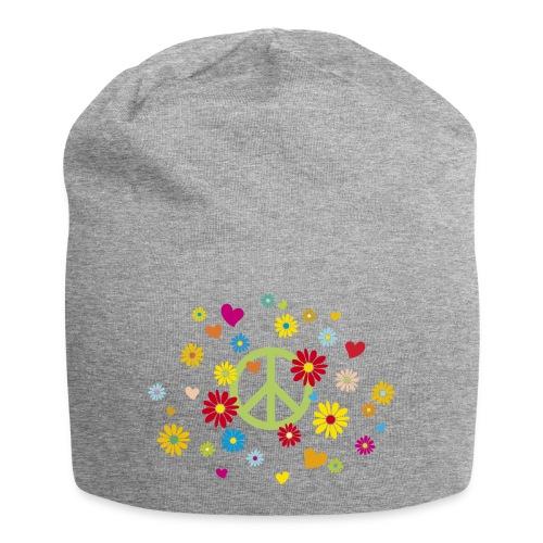 Peacezeichen Blumen Herz flower power Valentinstag - Jersey Beanie