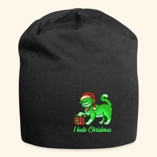I hate Christmas giftig grüne Weihnachtsmann Katze - Jersey-Beanie
