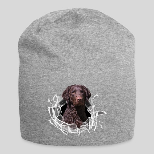 Curly Coated Liver im Glasloch - Jersey-Beanie