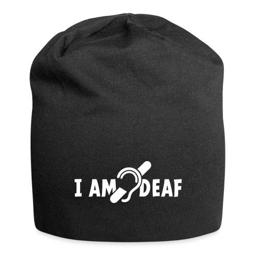I am deaf. Ik hoor je niet. Doven, slechthorend - Jersey-Beanie