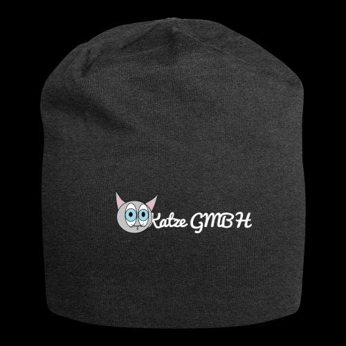 Katze GMBH Logo mit Schriftzug (Weiss auf dunkel) - Jersey-Beanie