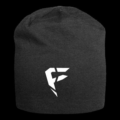 F Logo in Weiß - Jersey-Beanie