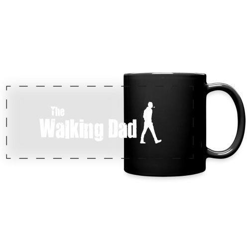 the walking dad white text on black - Full Colour Panoramic Mug