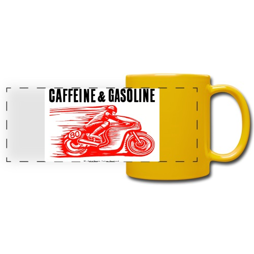Caffeine & Gasoline black text - Full Colour Panoramic Mug