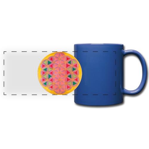 Blume des Lebens - Panoramatasse farbig