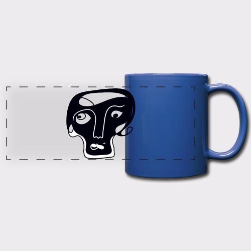 Totenkopf Blau Line Art Stil Geschenkideen - Panoramatasse farbig