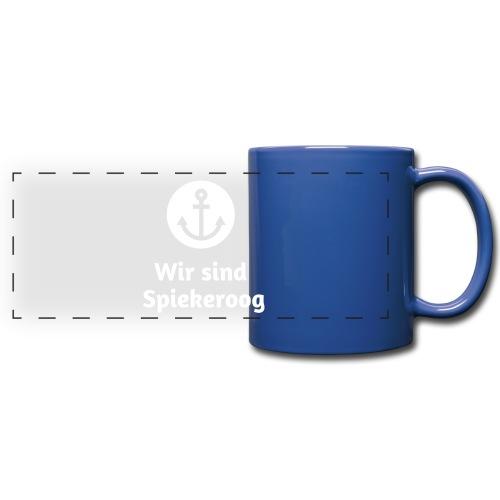 Wir sind Spiekeroog Logo weiss - Panoramatasse farbig