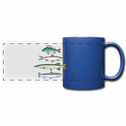 FOUR FISH - Ahven, siika, hauki ja taimen tuotteet - Panoraamamuki värillinen