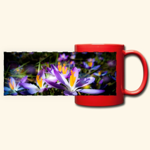 Blumenwiese, lila blühende Blumen, Blüten, floral - Panoramatasse farbig