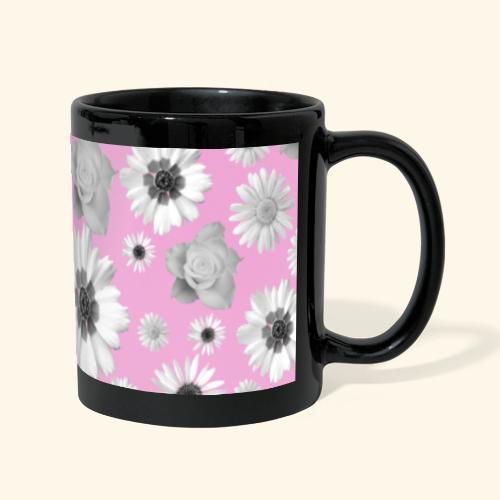 Blumen, Blume, Blüten, floral, Blumenranke, pink - Panoramatasse farbig